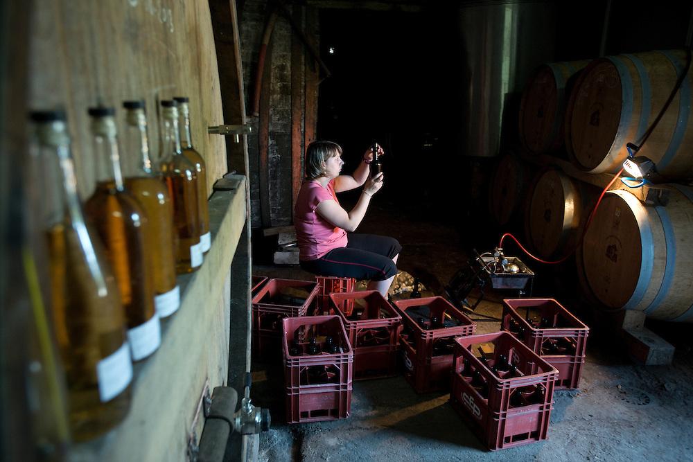 La mise-en-bouteille de calvados dans le cave de la ferme Gandouet. La famille Grandval est des producteurs cidricole depuis trois g&eacute;n&eacute;rations. Leurs Calvados, Pommeau et cidre sont fabriqu&eacute;s de fa&ccedil;on artisanale et traditionnelle. <br /> Cambremer, France. 18/07/2013.