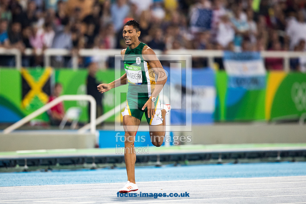 Wayde Van Niekerk of South Africa takes Gold and breaks the World Record in the Men's 400m Final on day nine of the XXXI 2016 Olympic Summer Games in Rio de Janeiro, Brazil.<br /> Picture by EXPA Pictures/Focus Images Ltd 07814482222<br /> 14/08/2016<br /> *** UK &amp; IRELAND ONLY ***<br /> <br /> EXPA-GRO-160815-5334.jpg