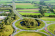 Nederland, Friesland, Gemeente De Friese Meren, 10-10-2014; files op de wegen en toeritten rond knooppunt Joure<br /> Congestion at Joure junction.<br /> luchtfoto (toeslag op standard tarieven);<br /> aerial photo (additional fee required);<br /> copyright foto/photo Siebe Swart