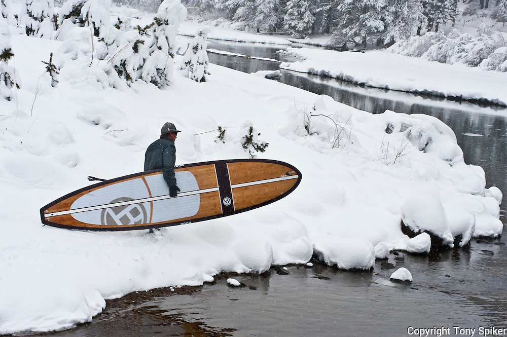 """Winter SUP on the Truckee River 11"" - Peter Spain Stand Up Paddleboarding on the Truckee River"
