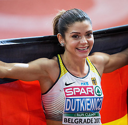 Third placed Pamela Dutkiewicz of Germany celebrates after the 60m Hurdles Women Final on day one of the 2017 European Athletics Indoor Championships at the Kombank Arena on March 3, 2017 in Belgrade, Serbia. Photo by Vid Ponikvar / Sportida