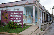 Revolutionary sign in Antilla, Holguin, Cuba.