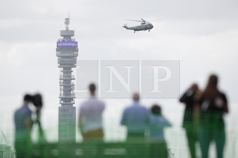 © Licensed to London News Pictures. 03/06/2019. London, UK. Helicopters carrying US President Donald Trump and his entourouge are seen over London as he starts his State Visit to the United Kingdom. During his three days in the UK he will meet with members of the Royal family and outgoing Prime Minister Theresa May before attending 75th Anniversary of D-Day commemorations in Portsmouth and France. Photo credit: Peter Macdiarmid/LNP