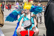 UNITED KINGDOM, London: 27 May 2016 Cosplay fans share a moment outside of the MCM London Comic Con held all this weekend at The ExCeL Centre. The comic convention will see an estimated 150,000 cosplay and comic fans flock to the exhibition. Rick Findler / Story Picture Agency