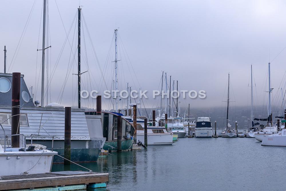 Foggy Sausalito Harbor in San Francisco
