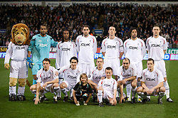 BOLTON, ENGLAND - Thursday, March 6, 2008: Bolton Wanderers' players line-up for a team-group photo during the UEFA Cup Round of 16 1st Leg match against Sporting Clube de Portugal at the Reebok Stadium. ..Back row: Lofty the Lion, goalkeeper Ali Al-Habsi, Ricardo Gardner, Nicholas Hunt, Joseph O'Brien, Ivan Campo, Andy O'Brien. Front row L-R: Matthew Taylor, Gary Cahill, Kevin Davies, Gavin McCann, Heidar Helguson. (Pic by David Rawcliffe/Propaganda)