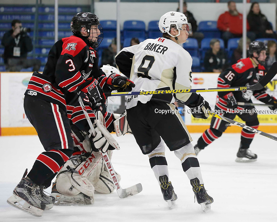 TRENTON, ON  - MAY 3,  2017: Canadian Junior Hockey League, Central Canadian Jr. &quot;A&quot; Championship. The Dudley Hewitt Cup. Game 4 between the Georgetown Raiders and Trenton Golden Hawks. Dawson Baker #9 of the Trenton Golden Hawks and Mitch Brewer #3 of the Georgetown Raiders battle for position during the first period <br /> (Photo by Amy Deroche / OJHL Images)