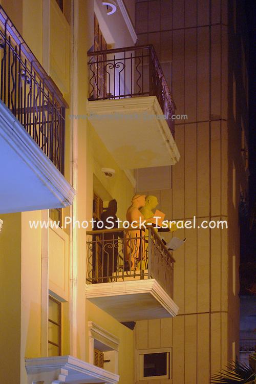 Israel, Tel Aviv, Rothschild Boulevard, Bauhaus Buildings in the white city, illuminated at night, Celebrating the UNESCO declaration of Tel Aviv as an international heritage site
