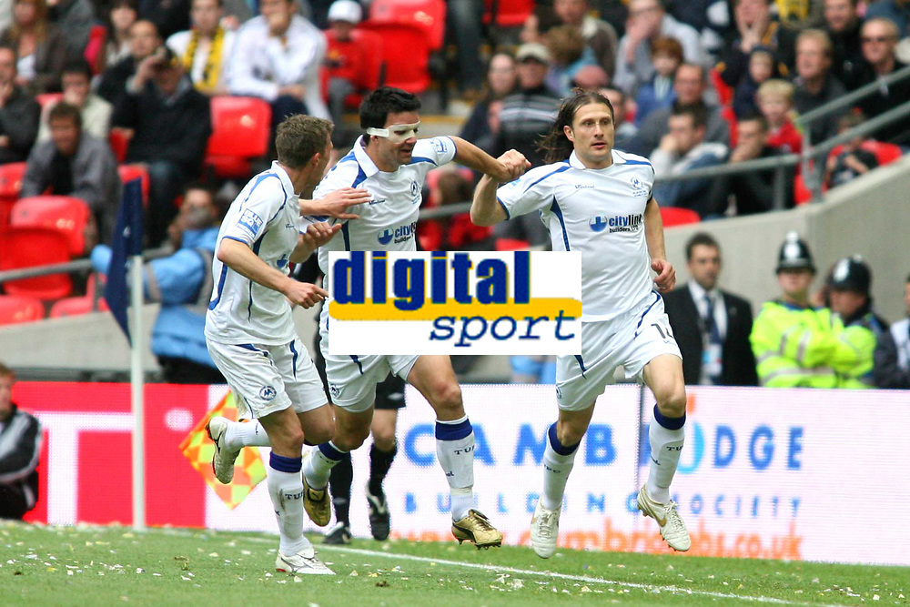 Chris Hargreaves (Torquay United) celebrates scoring with Tim Sills<br /> Cambridge United vs Torquay United<br /> Blue Square Premier Play-Off Final at Wembley Stadium 17/05/2009<br /> Credit Colorsport / Shaun Boggust