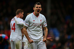 Dejan Lovren of Liverpool celebrates Liverpool being aware the penalty - Mandatory byline: Jason Brown/JMP - 07966386802 - 06/03/2016 - FOOTBALL - London - Selhurst Park - Crystal Palace v Liverpool - Barclays Premier League