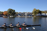 Boston, USA, Quad, pass Cambridge Boat Club, at the Head of the Charles Race, Charles River, Cambridge,  Massachusetts. Saturday  21/10/2007 [Mandatory Credit Peter Spurrier/Intersport Images]..... , Rowing Course; Charles River. Boston. USA Cambridge Boat House