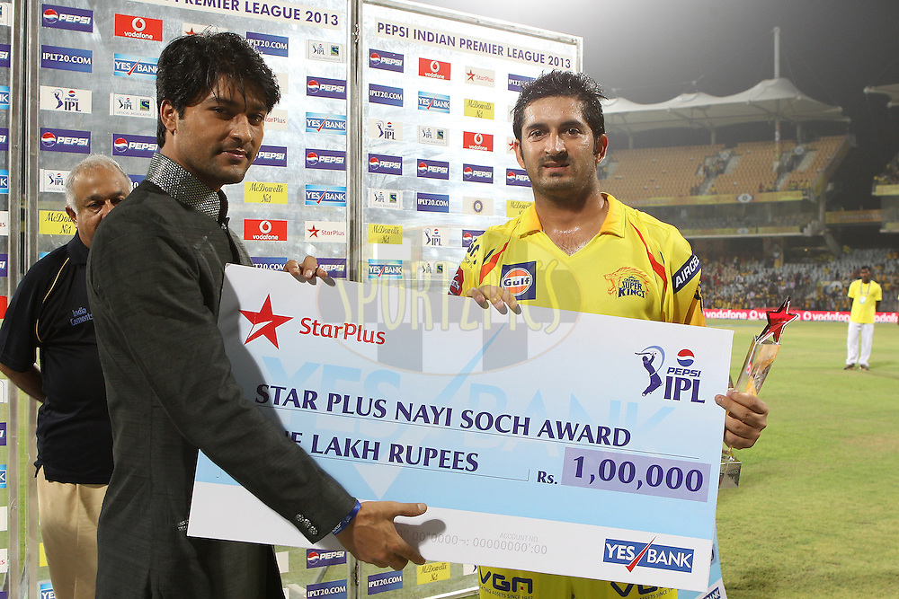 Mohit Sharma gets the Star Plus award during match 64 of the Pepsi Indian Premier League between The Chennai Superkings and the Delhi Daredevils held at the MA Chidambaram Stadium in Chennai on the 14th May 2013..Photo by Ron Gaunt-IPL-SPORTZPICS   .. .Use of this image is subject to the terms and conditions as outlined by the BCCI. These terms can be found by following this link:..http://www.sportzpics.co.za/image/I0000SoRagM2cIEc