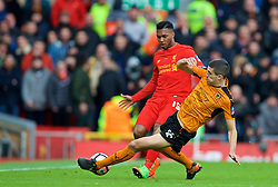 LIVERPOOL, ENGLAND - Saturday, January 28, 2017: Liverpool's Daniel Sturridge in action against Wolverhampton Wanderers' Conor Coady during the FA Cup 4th Round match at Anfield. (Pic by David Rawcliffe/Propaganda)