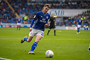 Gavin Whyte of Cardiff City crosses the ball during the EFL Sky Bet Championship match between Cardiff City and Swansea City at the Cardiff City Stadium, Cardiff, Wales on 12 January 2020.