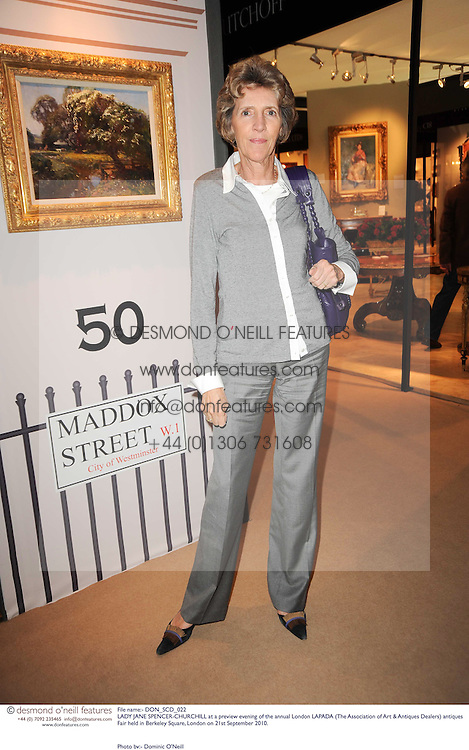 LADY JANE SPENCER-CHURCHILL at a preview evening of the annual London LAPADA (The Association of Art & Antiques Dealers) antiques Fair held in Berkeley Square, London on 21st September 2010. *** Local Caption *** Image free to use for 1 year from image capture date as long as image is used in context with story the image was taken.  If in doubt contact us - info@donfeatures.com<br /> LADY JANE SPENCER-CHURCHILL at a preview evening of the annual London LAPADA (The Association of Art & Antiques Dealers) antiques Fair held in Berkeley Square, London on 21st September 2010.
