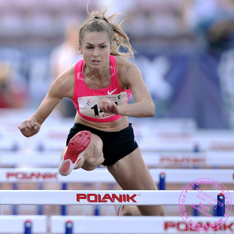 OLGA SAMYLOVA (RUSSIA) COMPETES IN WOMEN'S 100 METERS HURDLES DURING 56TH ATHLETIC MEMORIAL OF JANUSZ KUSOCINSKI 2010 IN WARSAW, POLAND...POLAND , WARSAW , JUNE 08, 2010..( PHOTO BY ADAM NURKIEWICZ / MEDIASPORT )