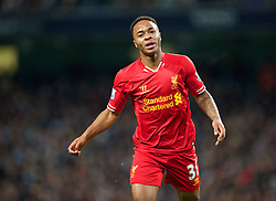 MANCHESTER, ENGLAND - Boxing Day Thursday, December 26, 2013: Liverpool's Raheem Sterling in action against Manchester City during the Premiership match at the City of Manchester Stadium. (Pic by David Rawcliffe/Propaganda)