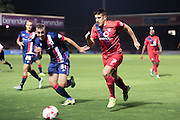 York City midfielder Michael Coulson takes on Doncaster Rovers midfielder, on loan from Manchester City, James Horsfield  during the Johnstone's Paint Trophy match between York City and Doncaster Rovers at Bootham Crescent, York, England on 6 October 2015. Photo by Simon Davies.