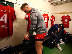 Ed Holmes of Bristol Rugby prepares in the dressing room at Nottingham Rugby ahead of making his debut - Mandatory by-line: Robbie Stephenson/JMP - 06/04/2018 - RUGBY - The Bay - Nottingham, England - Nottingham Rugby v Bristol Rugby - Greene King IPA Championship