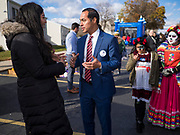 02 NOVEMBER 2019 - DES MOINES, IOWA: Former Secretary of Housing and Urban Development JULIAN CASTRO talks to members of Des Moines' Latino community Saturday. Castro visited a Dias de los Muertos (Day of the Dead) block party in in the community. Castro is in Iowa campaigning to be the Democratic nominee for the US Presidency in 2020. Iowa is the first state to host a presidential selection event. The Iowa caucuses are Feb. 3, 2020.          PHOTO BY JACK KURTZ