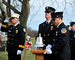 "A traditional fire bell is run signifying Ashmar's last call. Funeral services with for Upper Macungie Township Fire Marshal Samir ""Sam"" Ashmar, 51 were held on November 25th, 2014, in Allentown, Pa. Ashmar died on November 20th in the line of duty following an emergency call. (Chris Post 