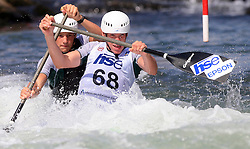 Luka Bozic and Saso Taljat (SLO) of Men's C2 Canoe Double at Heats - 1st Run of ICF Kayak/Canoe Slalom Racing World Cup Tacen 2008, on June 28, 2008, Ljubljana, Slovenia. (Photo by Vid Ponikvar / Sportal Images)../ Sportida)