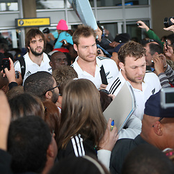 PORT ELIZABETH, SOUTH AFRICA - AUGUST 14, All Black players during the New Zealand All Blacks arrival at Port Elizabeth Airport on August 14, 2011 in Port Elizabeth, South Africa<br /> Photo by Steve Haag / Gallo Images