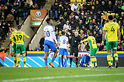 Norwich City defender Grant Hanley (31) is sent off during the The FA Cup 3rd round match between Norwich City and Portsmouth at Carrow Road, Norwich, England on 5 January 2019.