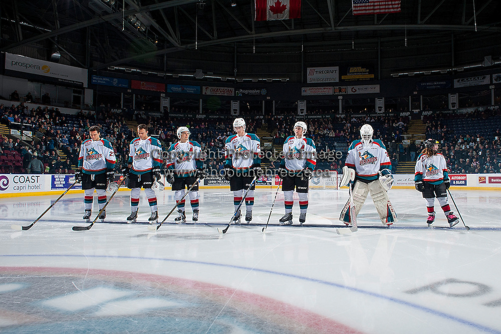 KELOWNA, CANADA - JANUARY 21: The Kelowna Rockets line up with the Pepsi Player against the Portland Winterhawks on January 21, 2017 at Prospera Place in Kelowna, British Columbia, Canada.  (Photo by Marissa Baecker/Shoot the Breeze)  *** Local Caption ***