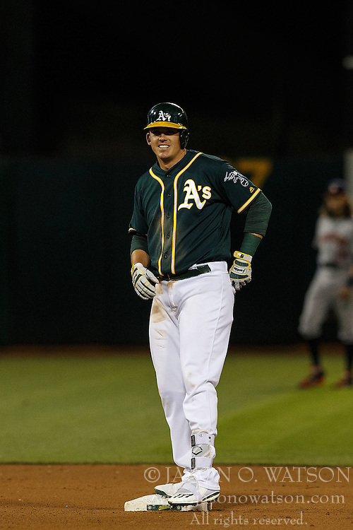 OAKLAND, CA - JULY 19:  Ryon Healy #48 of the Oakland Athletics stands on second base after hitting a two-run double against the Houston Astros during the seventh inning at the Oakland Coliseum on July 19, 2016 in Oakland, California. The Oakland Athletics defeated the Houston Astros 4-3 in 10 innings.  (Photo by Jason O. Watson/Getty Images) *** Local Caption *** Ryon Healy