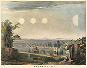 Parhelia (Mock Suns) without haloes, observed in England in 1698.  On this occasion the phenomenon, caused by atmospheric refraction, began at 8am when true Sun shone through watery cloud, with mock suns appearing either side, and a pink half mock sun further off.  The phenomenon  lasted for two hours.  From 'The Beauty of the Heavens', Charles F Blunt, (London, 1845). Coloured lithograph.