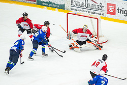 FUKUFUJI Yutaka (JAP) vs OGRAJENSEK Ken (SLO)  during OI pre-qualifications of Group G between Slovenia men's national ice hockey team and Japan men's national ice hockey team, on February 9, 2020 in Ice Arena Podmezakla, Jesenice, Slovenia. Photo by Peter Podobnik / Sportida
