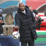 NEW YORK, NEW YORK - March 18: Head coach Patrick Vieira, New York City FC on the sideline during the New York City FC Vs Montreal Impact regular season MLS game at Yankee Stadium on March 18, 2017 in New York City. (Photo by Tim Clayton/Corbis via Getty Images)