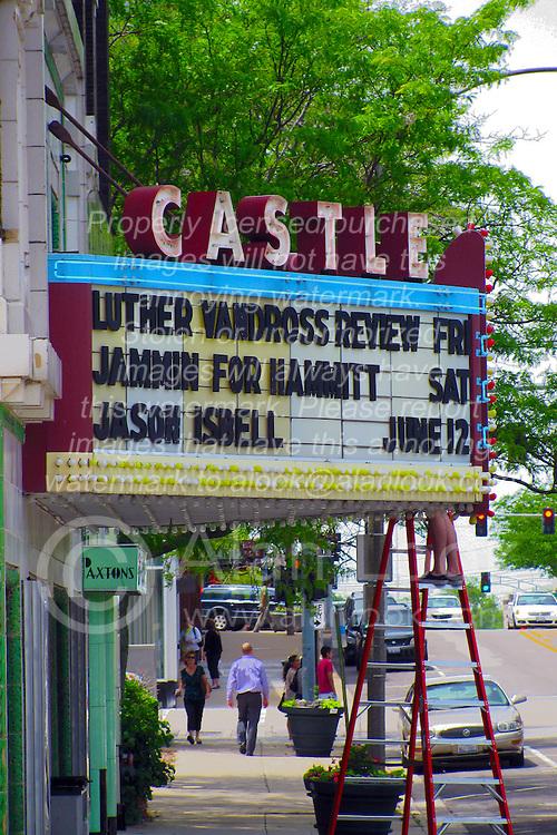 05 June 2014:   Downtown Bloomington. Castle Theatre marquis