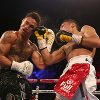 NEW ORLEANS, LA - JULY 14:  Regis Prograis gets rocked by a right hand thrown by Juan Jose Velasco during their WBC Diamond Super Lightweight Title boxing match at the UNO Lakefront Arena on July 14, 2018 in New Orleans, Louisiana.  (Photo by Alex Menendez/Getty Images) *** Local Caption *** Regis Prograis; Juan Jose Velasco