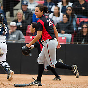 12 May 2018: San Diego State's Kelsey Munoz (26) runs onto the field to celebrate after a walk off win against Utah State. San Diego State women's softball closed out the season against Utah State with a 3-2 win on seniors day and sweep the series. <br /> More game action at sdsuaztecphotos.com