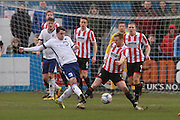 Andy Parry and Kyle Storer during the Vanarama National League match between Barrow and Cheltenham Town at Holker Street, Barrow, United Kingdom on 6 February 2016. Photo by Antony Thompson.