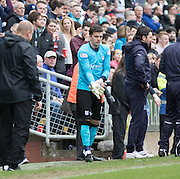 Dundee&rsquo;s David Mitchell prepares to make his debut after Scott Bain was red carded - Dundee United v Dundee in the Ladbrokes Premiership at Tannadice<br /> <br />  - &copy; David Young - www.davidyoungphoto.co.uk - email: davidyoungphoto@gmail.com