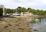 Beach at Gillan harbour, St Anthony-in-Meneage, Lizard Peninsula, Cornwall, England, UK