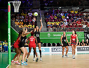 11th April 2018, Gold Coast Convention and Exhibition Centre, Gold Coast, Australia; Commonwealth Games day 7; Netball, England versus New Zealand; Maria Folau of New Zealand shoots for goal