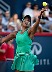 MONTREAL, Aug. 12, 2018  Sloane Stevens of the United States serves to Elina Svitolina of Ukraine during the semifinal match of women's singles at the 2018 Rogers Cup in Montreal, Aug. 11, 2018. Sloane Stevens won 2-0. (Credit Image: © Andrew Soong/Xinhua via ZUMA Wire)