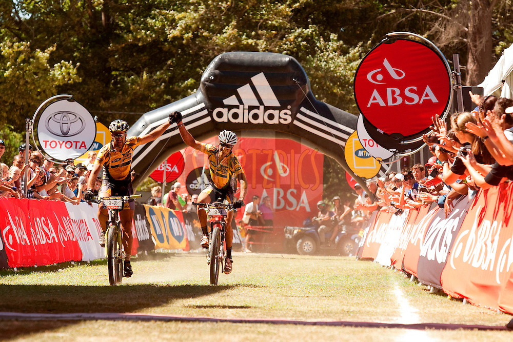 Alban Lakata & Kevin Evans of MTN-Qhubeka win stage one of the 2010 Absa Cape Epic Mountain Bike stage race from Diemersfontein Wine estate, Wellington, to Ceres in the Western Cape, South Africa on the 21 March 2010.Photo by Gary Perkin/SPORTZPICS.