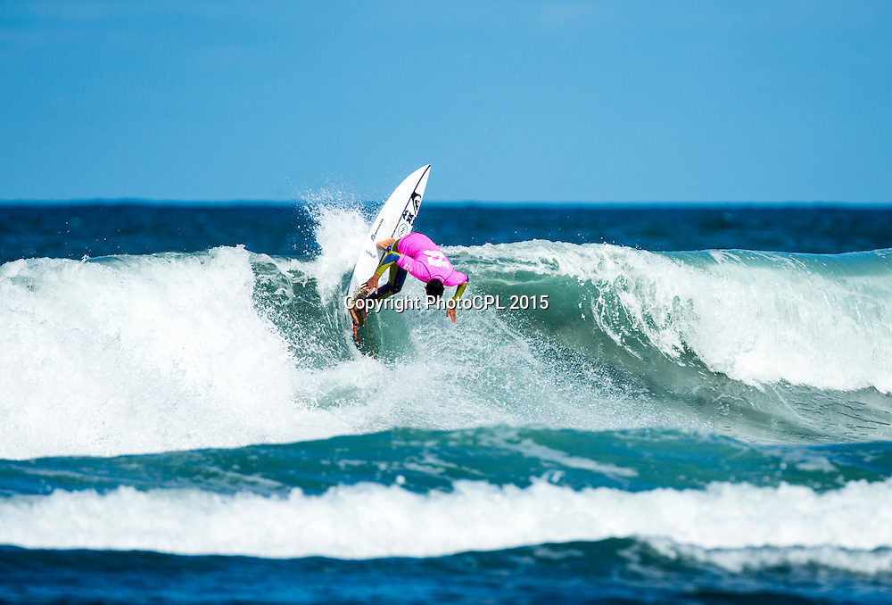 Kehu Butler of Mt. Maunganui on day three of the 2015 Billabong National Surfing Championships  driven by Subaru today (Tuesday 13th January).  The National Surfing Championships run through until the 17th January at Piha Beach, Auckland and include 23 divisions for in excess of 260 entrants. Photo credit: PhotoCPL