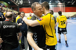 Players of RK Gorenje Velenje after handball match between RK Gorenje Velenje and PSG Handball (FRA) in the last sixteen of EHF Champions League 2013/14 on March 22, 2014 in Rdeca dvorana, Velenje, Slovenia. Photo by Urban Urbanc / Sportida