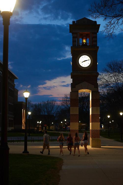 Buildings; Clock Hoeschler Tower; Location; Outside; Spring; April; Time/Weather; night; UWL UW-L UW-La Crosse University of Wisconsin-La Crosse