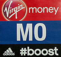Mo Farah's vest ID from the Money London Marathon 2014 on Sunday 13 April 2014<br /> Photo: Neil Turner/Virgin Money London Marathon<br /> media@london-marathon.co.uk