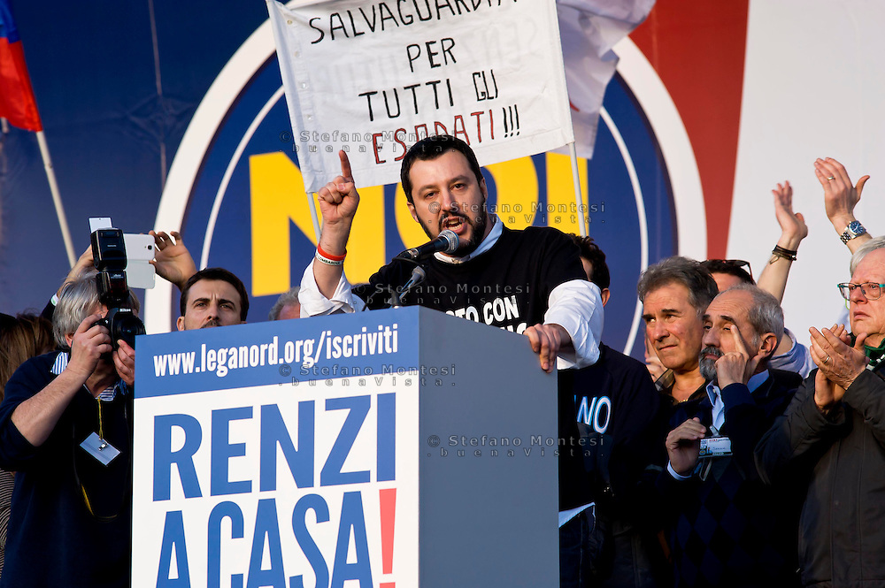 Roma 28 Febbraio 2015<br /> &quot;Renzi a casa!' - Manifestazione della Lega Nord in piazza del Popolo contro il Governo Renzi, e  contro l'Euro. Matteo Salvini<br /> Rome February 28, 2015<br /> &quot;Renzi at home! '- Demonstration of the Northern League in Piazza del Popolo against the government Renzi, and against the Euro