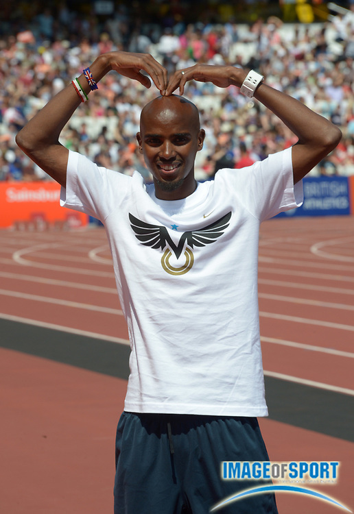 Jul 27, 2013; London, UNITED KINGDOM; Mohamed Farah (GBR) poses at the Sainsbury's Anniversary Games at Olympic Stadium.