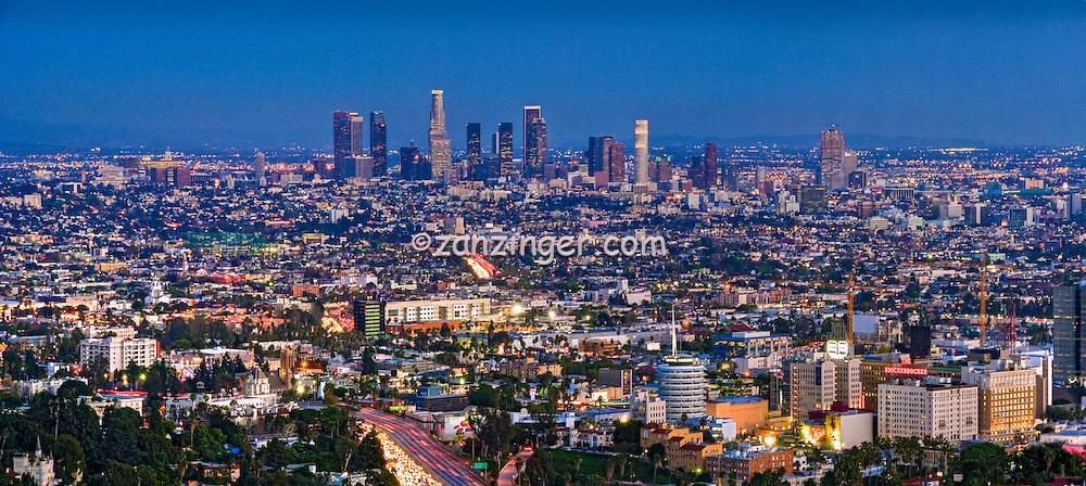 Los Angeles CA, Skyline, Clear Evening, Hollywood, Downtown, LA, Twilight, Night, Magic Hour, dusk, streaking tail lights, Freeway 101,