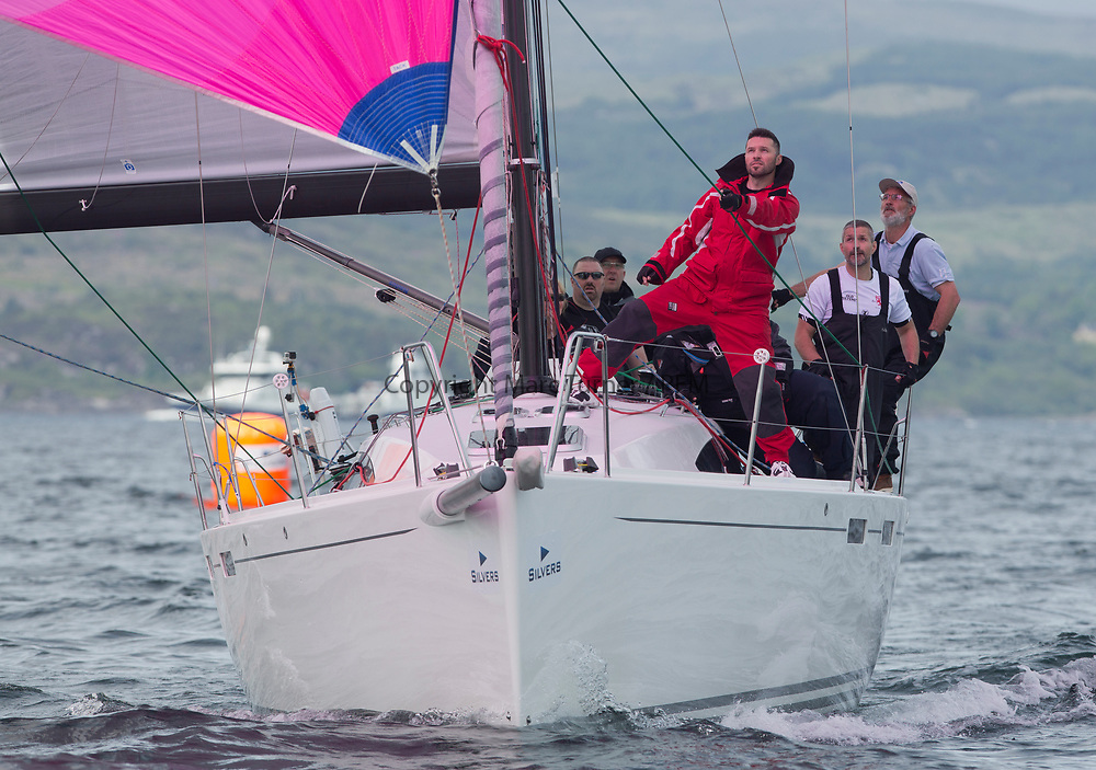 Silvers Marine Scottish Series 2017<br /> Tarbert Loch Fyne - Sailing<br /> <br /> GBR8722R, Black Jack of Kip, Phil Moyes, CCC, J122e<br /> <br /> Credit: Marc Turner / CCC